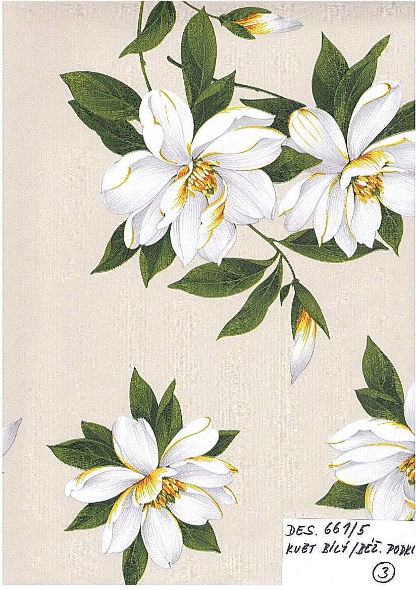 PVC ubrus Květ bílý, béžový podklad / metráž s textilním podkladem