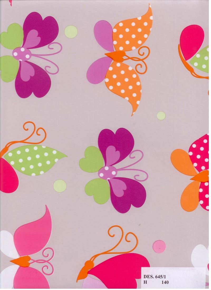 PVC ubrus dětský s Motýlky, stříbrný podklad / metráž s textilním podkladem