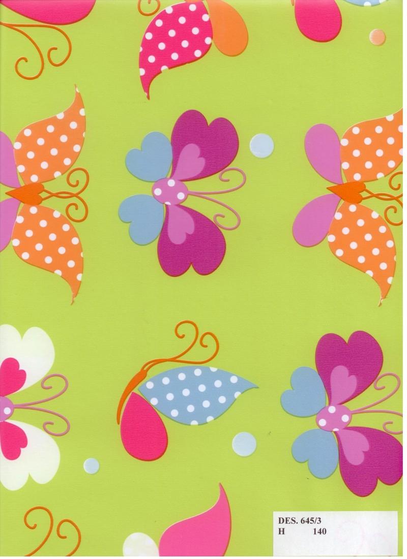 PVC ubrus dětský s Motýlky, zelený podklad / metráž s textilním podkladem
